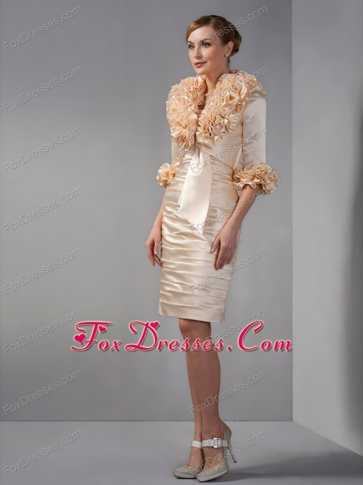 Champagne column strapless ruche wedding mother dress for Dresses for mother of the bride winter wedding