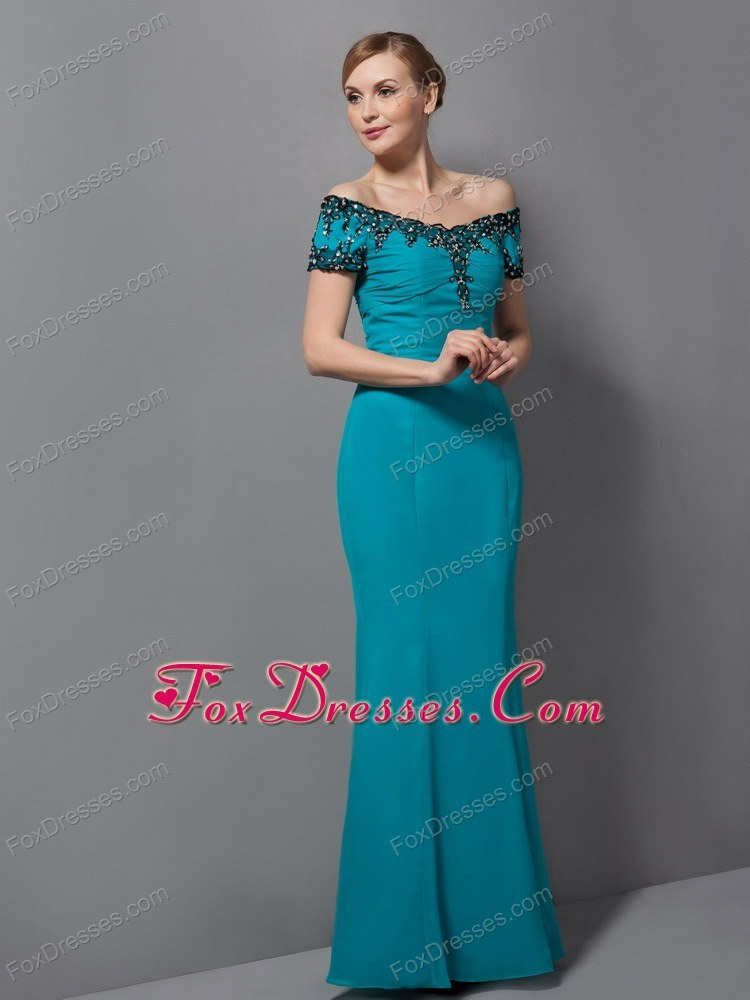 Teal appliques mother of the bride dress mermaid off the for Mother in law wedding dresses