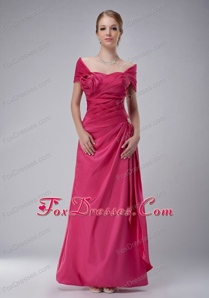 Off Shoulder Ruched Mother of Bride Dress Rose Pink