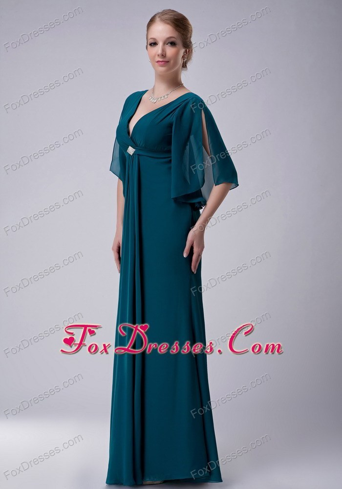 Chiffon beaded turquoise mother of the bride dress for Mother in law wedding dresses