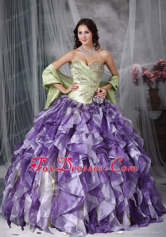 Colorful Sweetheart Beading and Ruffles Quinceanea Dress
