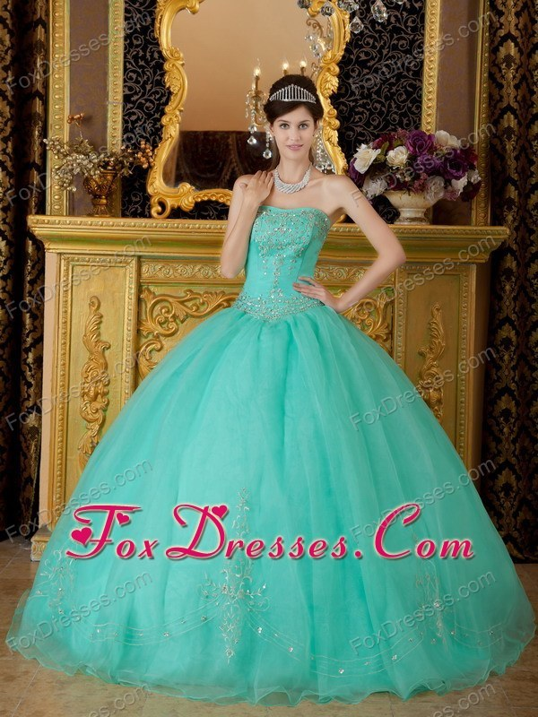 2013 Turquoise Strapless Floor-length Beading Quinceanera Dress