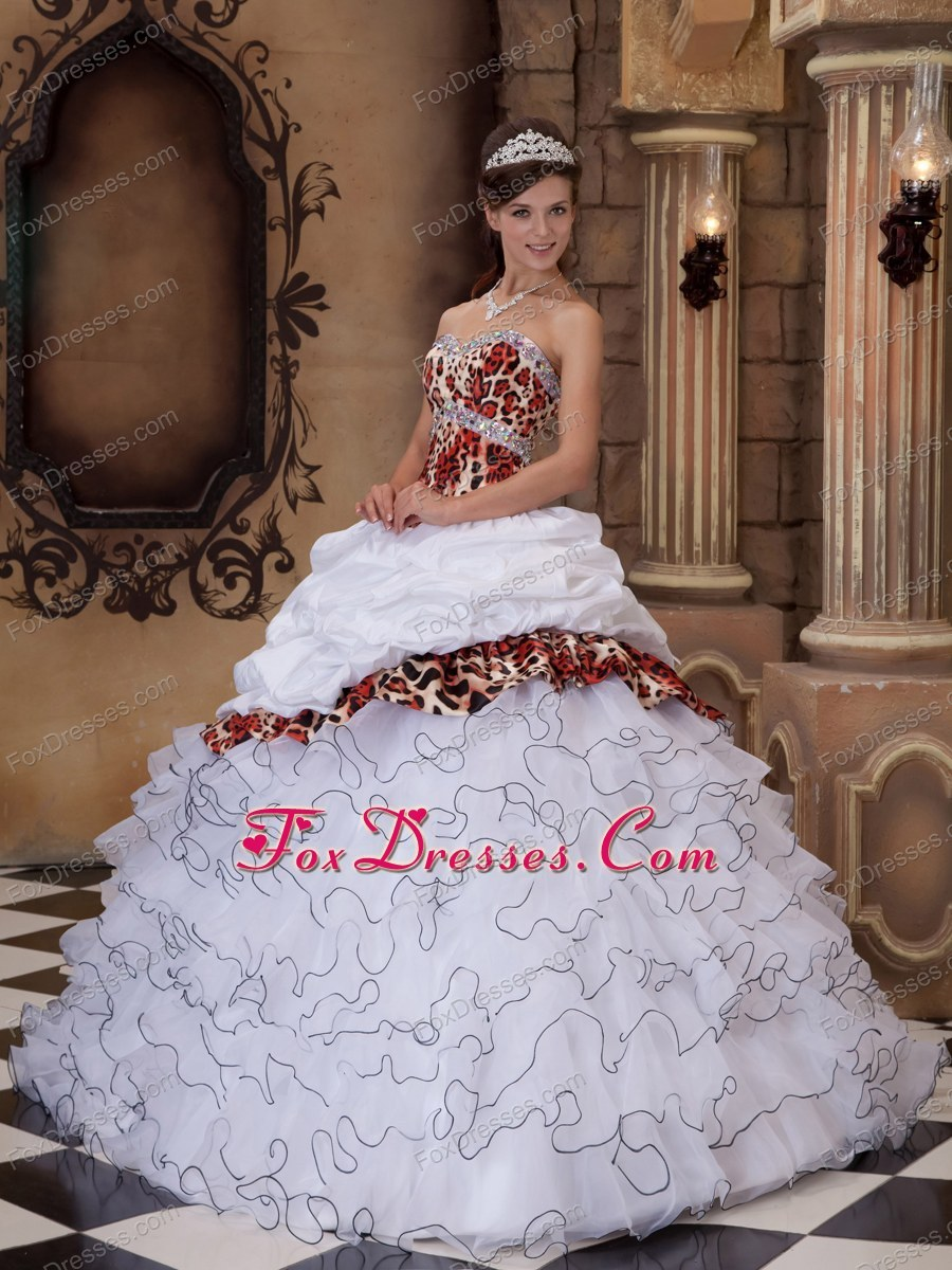 White Sweetheart Quinceanera Dress Classy Leopard Ruffle