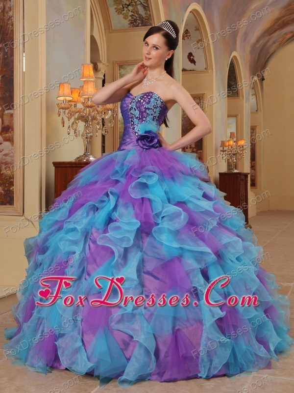 And Aqua Blue Sweetheart Ruffle Quinceanera Dress