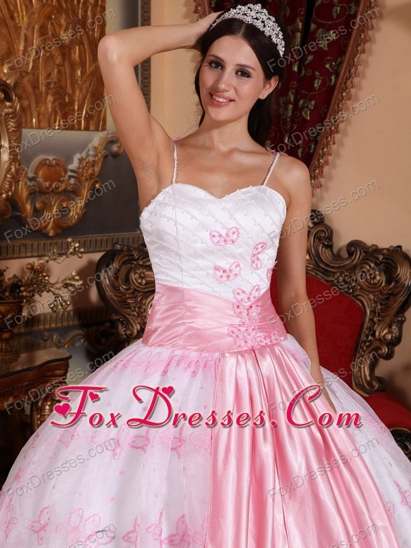 2013 Light Pink Ball Gown Quinceanera With Spaghetti Straps