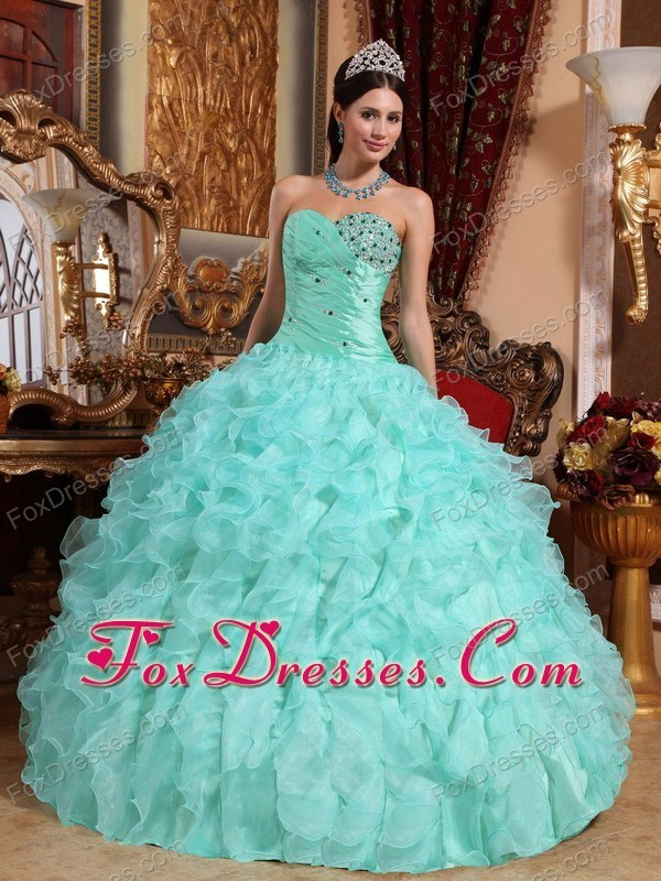 2013 Turquoise Sweetheart Organza Quinceanera For Sweet 15