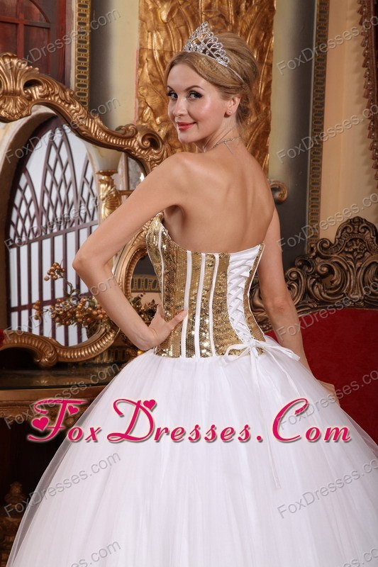 Sweet 15 16 Gold And White Floor Length Quinceanera Dress