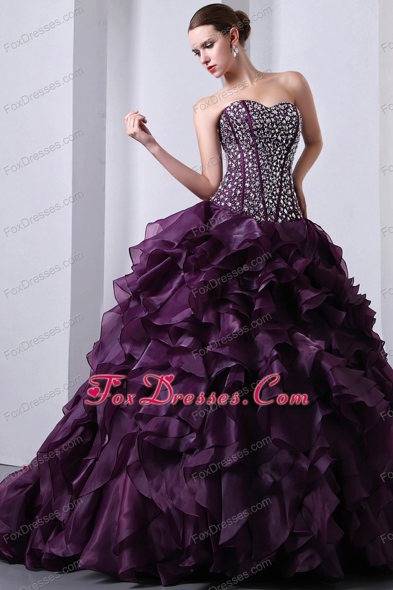 Dark Purple Beading Sweetheart Ruffle Quinceanera Dress
