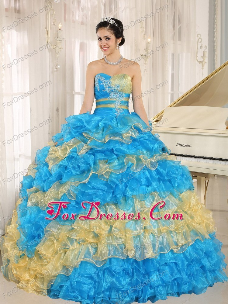 2013 Quinceanera Dress Ruffles With Appliques Multi-colored