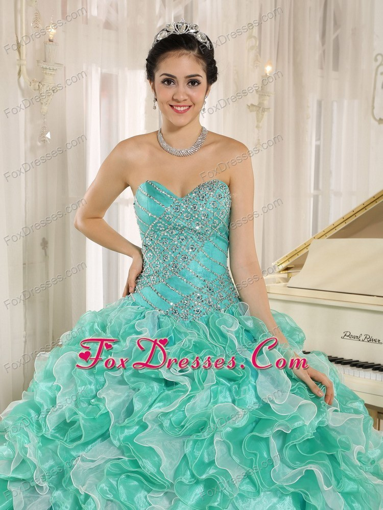 2013 Quinceanera Dress Apple Green Beaded Ruffles