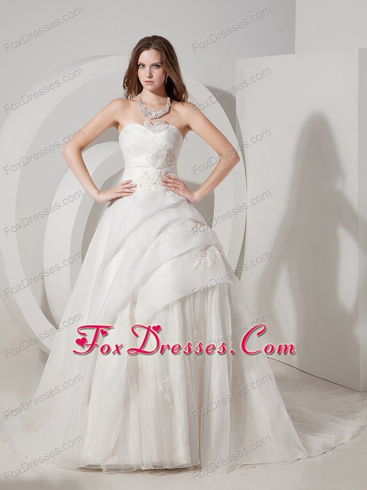 A-line Wedding Gown Dress Sweetheart Court Train Organza