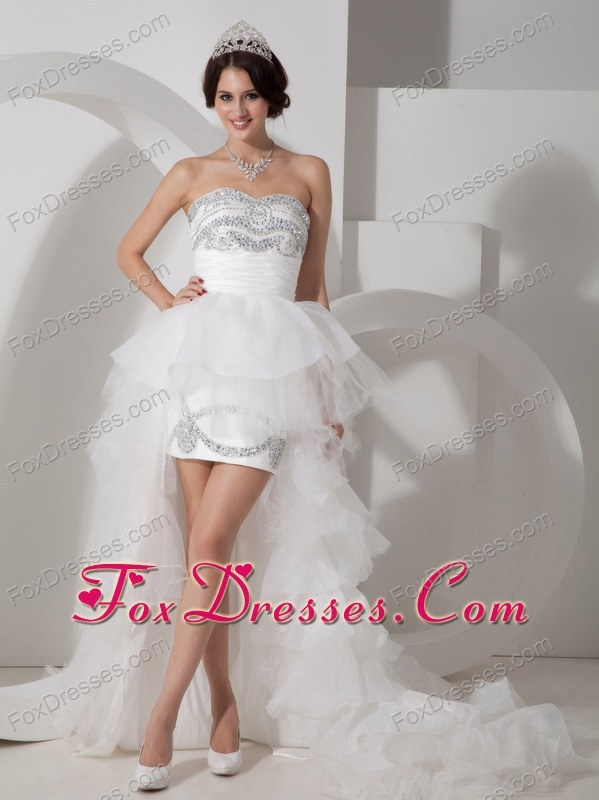 2013 Lovely Sweetheart High-low Wedding Dress with Rhinestone