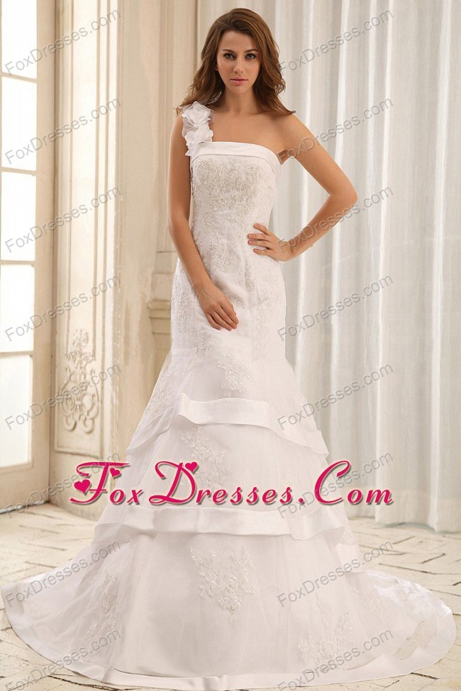 Mermaid One Shoulder Wedding Gowns Ruffled Layers Appliques