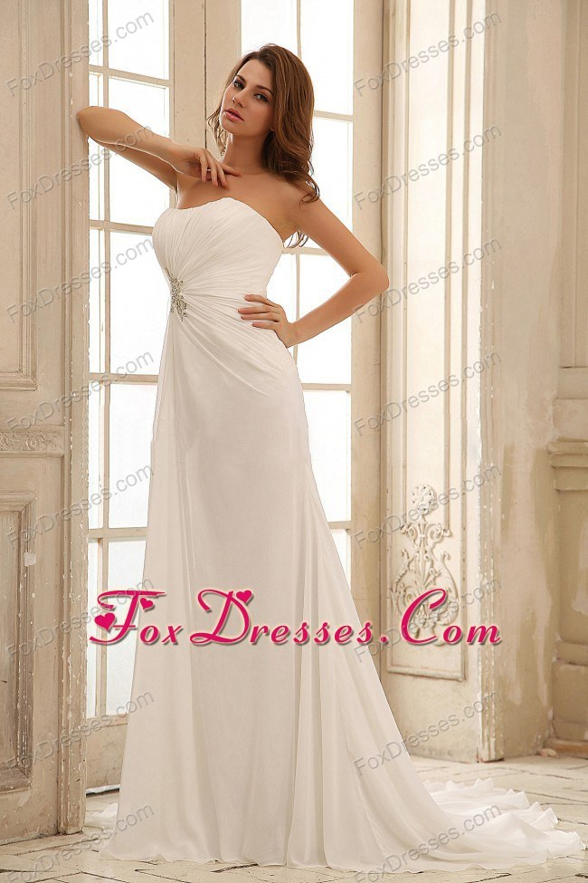 2013 Beading Empire Brush Train Beach Wedding Bridal Dress