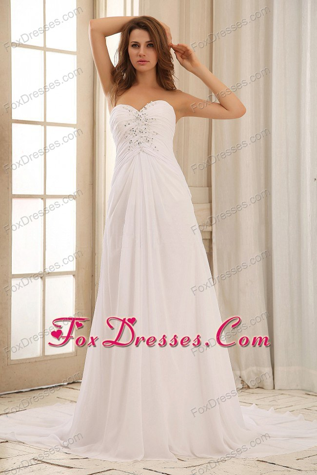 2013 Sweetehart Beaded Decorate Ruch Weding Dress Gown Brush Train