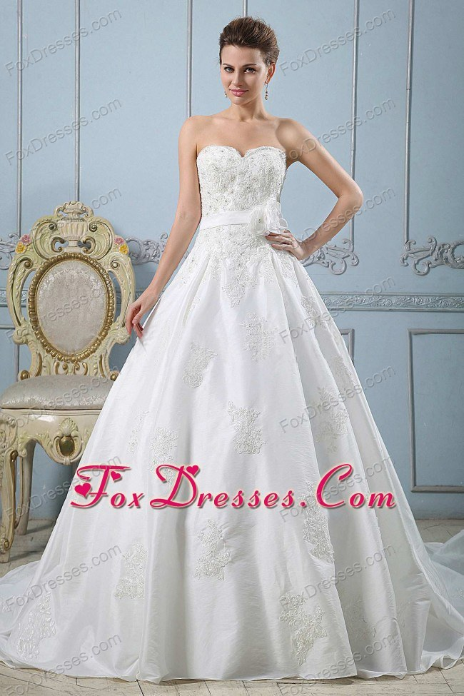 Princess Sweetheart Beaded Wedding Dress with Sash