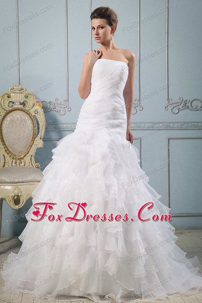 A-line Strapless Pretty Wedding Gowns Ruffled Layered