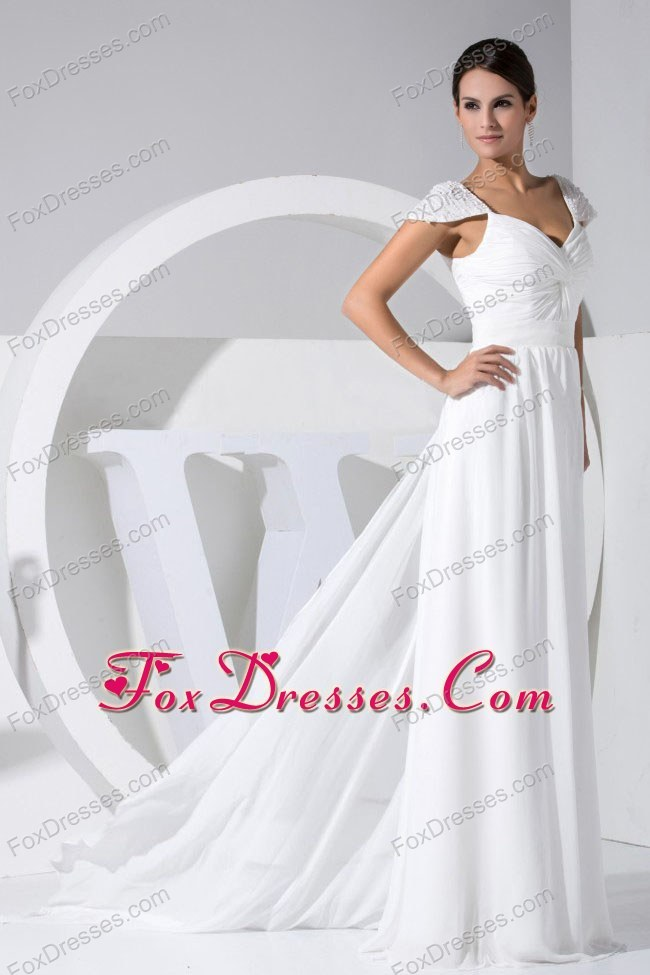 Beaded Cap Sleeves Beach Wedding Dress Watteau Train
