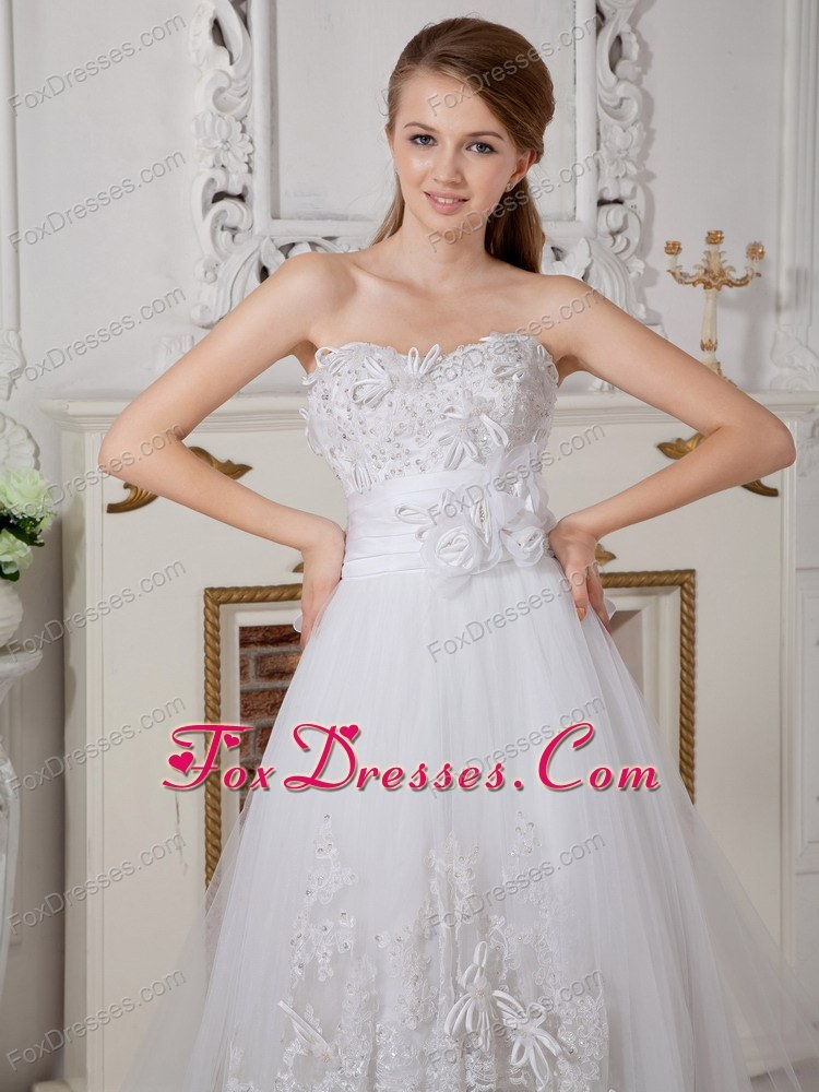 A-line Court Train Sweet Wedding Dress Lace Appliques