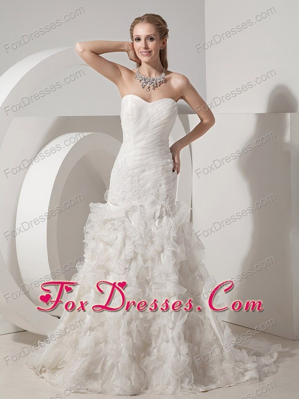 Mermaid Organza Appliques Wedding Dress 2013 Sweetheart Court