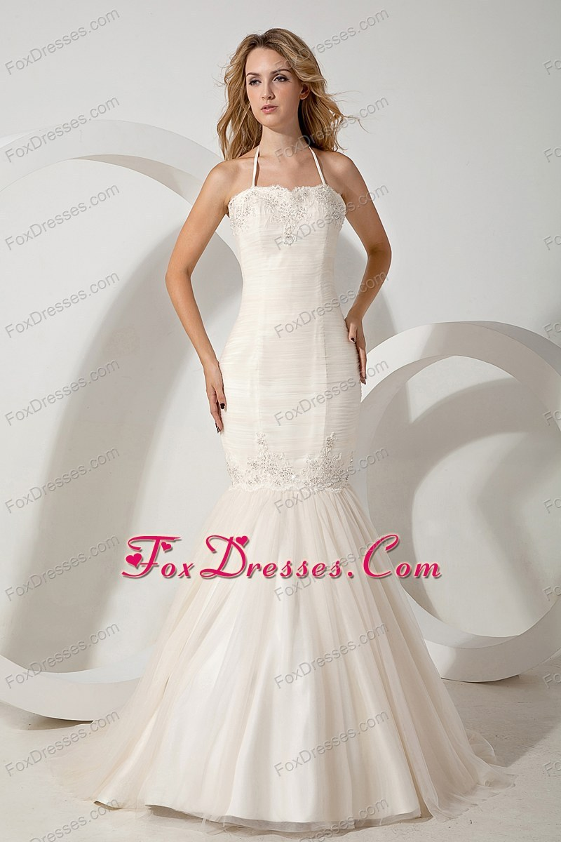 Sexy Wedding Dress Mermaid Halter Brush Appliques