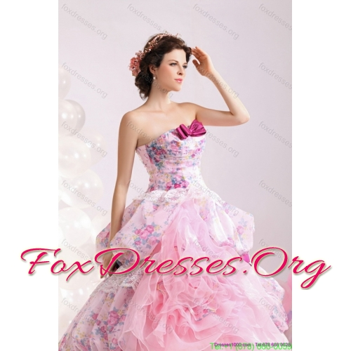 Popular Multi Color Ball Gown Ruffles Wedding Dresses with Lace and Bownot