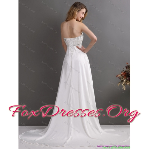 Popular Sweetheart Wedding Dress with Beading for 2015