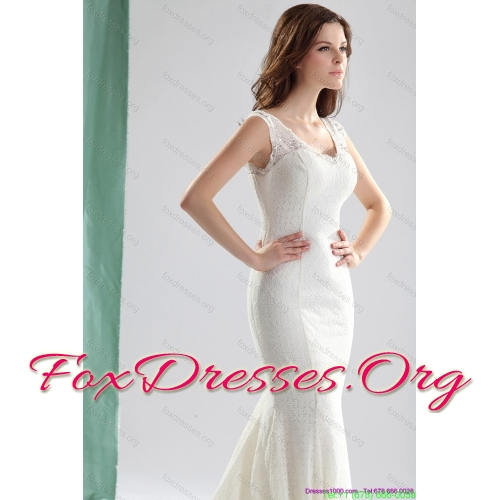 2015 New Arrival White Wedding Dresses with Lace and Brush Train