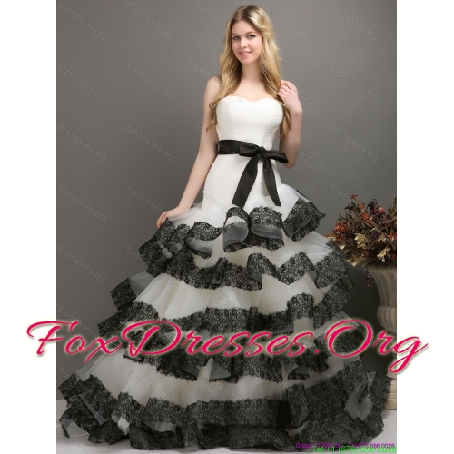 Elegant Sash and Lace Strapless 2015 Wedding Dresses in White and Black