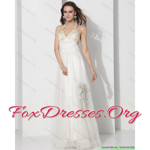 Popular Halter Empire Wedding Dress with Appliques for 2015