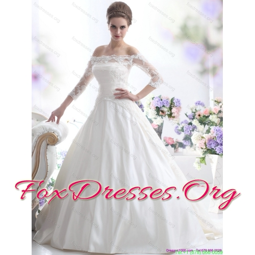 2015 Elegant Off the Shoulder Wedding Dress with 3/4 Length Sleeve