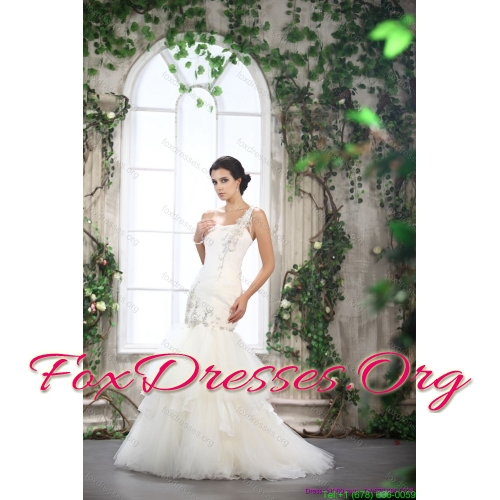2015 New Arrival One Shoulder Wedding Dress with Beading and Ruching