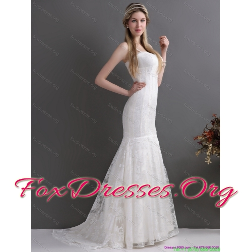 New Arrival 2015 Spaghetti Straps Wedding Dresses with Lace