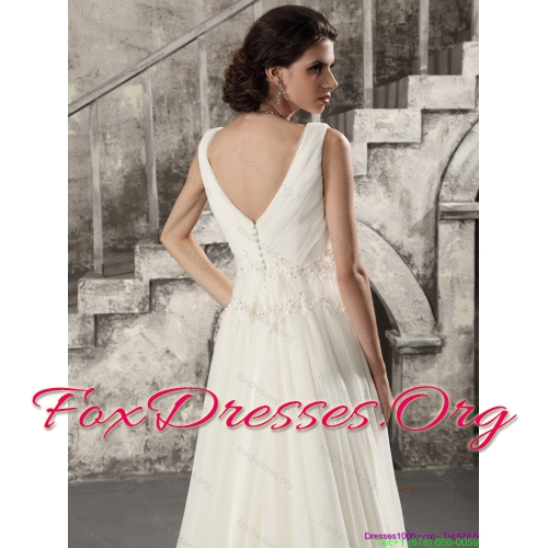 Affordable and Beading White Wedding Dresses with Brush Train