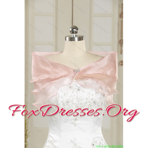 Affordable Ruched High Low Beaded Wedding Gowns in White and Lilac