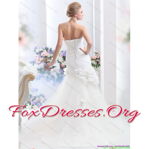 Affordable White BrushTrain Strapless Bridal Gowns with Ruching and Hand Made Flowers