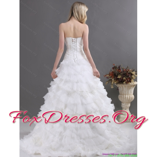 2015 Affordable Sweetheart Wedding Dress with Lace and Ruffles