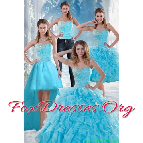 2015 Beautiful Appliques Quinceanera Dresses with Beading and Ruffles