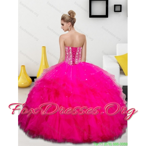 Designer Beading and Ruffles Sweetheart 2015 Quinceanera Dresses