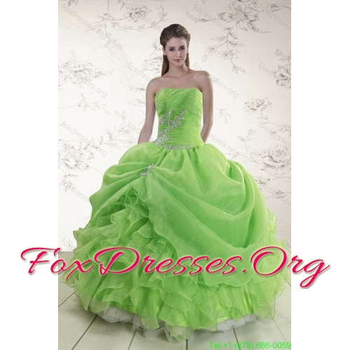 2015 Designer Spring Green Quince Dresses with Pick Ups and Beading