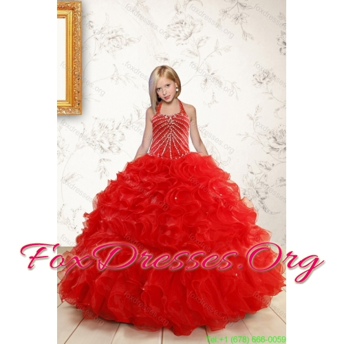 2015 Ruffled Red Quinceanera Dress and Baby Pink Strapless Prom Dresses and Halter Top Beaded Little Girl Dress