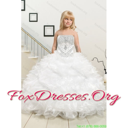 2015 Ruffles and Beading White Sweet 16 Dresses and Red Short Dama Dresses and Ruffles White Little Girl Dress