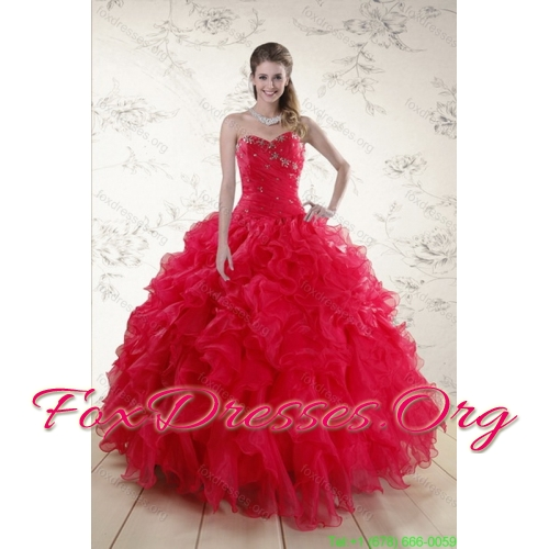 New Style Red Sweetheart Dresses for Quince with Ruffles and Beading