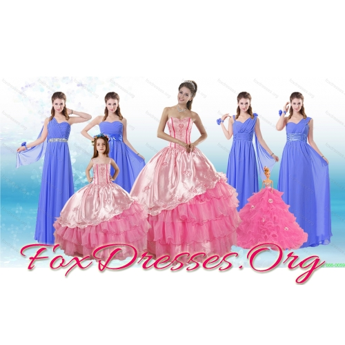 Ruffled Layers Sweetheart Quinceanera Dress and Elegant Ruching Long Dama Dresses and Rose Pink Floor Length Little Girl Dress