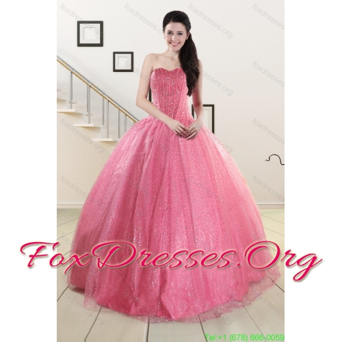 2015 Pretty Rose Pink Quinceanera Dress and Knee Length Dama Dresses and Sweet Ball Gown Little Girl Dress