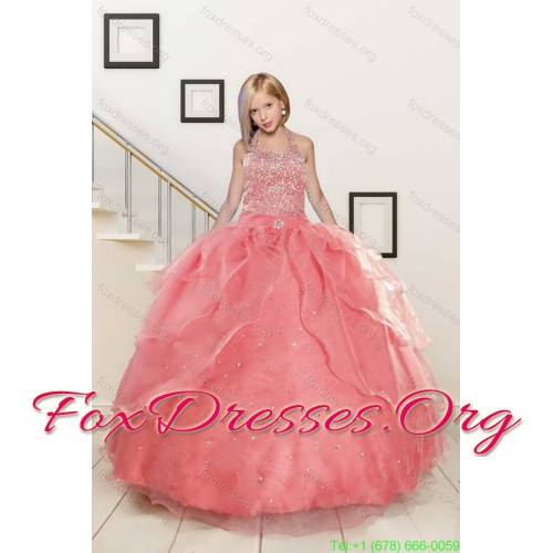 Perfect Beading Floor Length Quinceanera Dress and Short Ruching Prom Dresses and Watermelon Halter Top Little Girl Dress