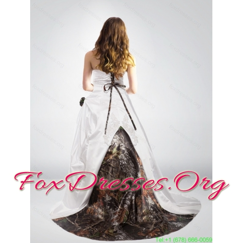 Popular Strapless Hand Made Flower Camo Wedding Dresses in Multi Color