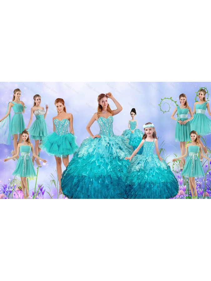 Popular Beaded Quinceanera Gown and Aqua Blue Dama Dresses and Pretty Multi Color Little Girl Dresses and Perfect Orange Prom Dresses