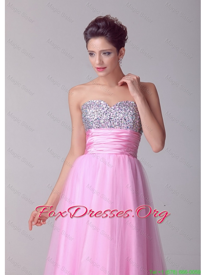 Pretty Princess Sweetheart Rose Pink Prom Dresses with Brush Train