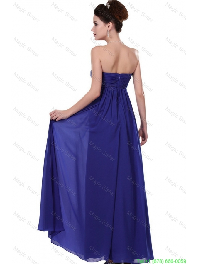 2016 Elegant Strapless Prom Dresses in Royal Blue